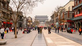 Architecture of Beijing, China. BEIJING, CHINA - APR 6, 2016: Qianmen street, famous commercial street in Beijing, China. It is 840 m long and 21 m and has the Stock Image