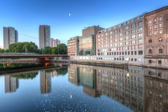 Architecture of Berlin reflected in Spree River. Germany Royalty Free Stock Photography
