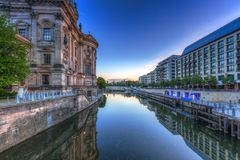 Architecture of Berlin reflected in Spree River. Germany Stock Image