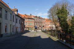 Architecture of bicked street of Brugge town in Begium Stock Image