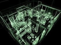 Architecture of big house. Computer graphic. X-ray of big house. 3D render Royalty Free Stock Images