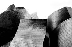 Architecture Bilbao black and white. Guggenheim Museum has been designed by architect Frank Gehry. Impressive contemporary buiding with titanium walls Stock Images