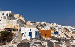 Architecture blanche de village d'Oia Images libres de droits