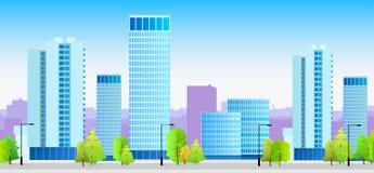 Architecture bleue d'illustration d'horizons de ville Images stock