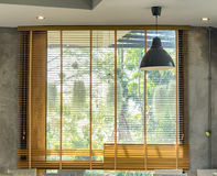 Architecture blinds wooden interior Stock Image
