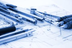 Architecture blueprint royalty free stock images