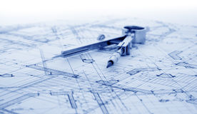 Architecture blueprint. & measurement and designer tools royalty free stock photo