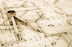 Architecture blueprint. Measurement and designer tools stock photography