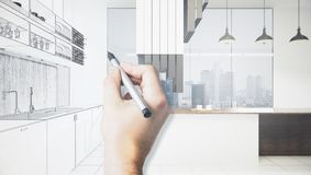 Architecture and blueprint concept. Male hands drawing abstract unfinished kitchen interior sketch. Architecture and blueprint concept. 3D Rendering Royalty Free Stock Image