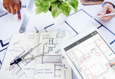 Architecture Blueprint Designing Engineering Structure Concept Stock Photography