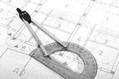 Architecture blueprint drawing Royalty Free Stock Image