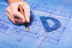 Architecture blueprint drawing Stock Photos