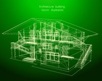 Architecture Blueprint Of A green House Stock Photo