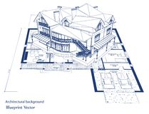 Architecture Blueprint Of A House. Vector Stock Photo