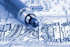 Architecture blueprint & pencil Stock Photos