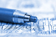 Architecture blueprint & pencil. Architecture blueprint plan and pencil royalty free stock photography