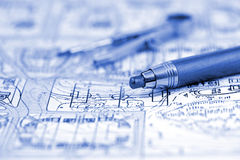 Architecture blueprint & pencil, compass Stock Image