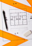 Architecture Blueprint and Tools. Architecture Blueprint, pen and eraser Royalty Free Stock Images