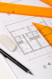 Architecture Blueprint and Tools. Architecture Blueprint, pen and eraser Stock Image