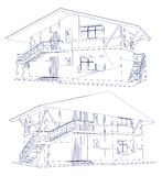 Architecture Blueprint Of A two House. Vector Stock Photos