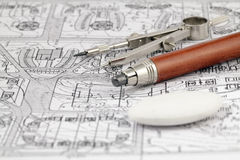 Architecture blueprint & work tools Stock Image