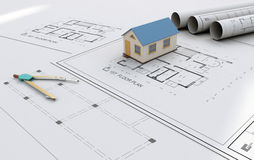 Architecture Blueprint & Working Drawing. Architectural working drawing sheets & a 3d model Stock Photography
