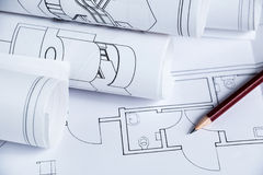 Architecture blueprints. Of a interior house royalty free stock photo