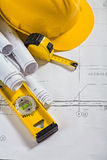 Architecture blueprints and work tool vertical Stock Image