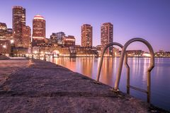Boston. The architecture of Boston in Massachusetts, USA at night showcasing the historic buildings mixed with contemporary ones at Boston Harbor and Financial Royalty Free Stock Photography
