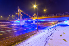 Architecture of bridge over bypass in Gdansk Royalty Free Stock Image