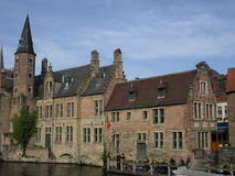 Architecture of Bruges, by the Canal. Buildings of Bruges stock image