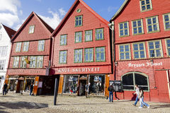 Architecture of Bryggen at Bergen Stock Image