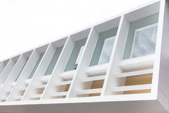 Architecture build and windows with white cement border Royalty Free Stock Photos