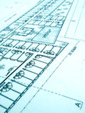 Architecture building plans, office building. A concept image of architectural blueprint construction plan of a offices building development project.  Showing Stock Image