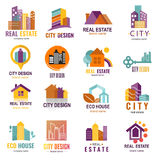 Architecture building skyscraper construction builder developer agency logo badge real estate company vector Royalty Free Stock Photos