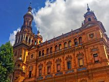 Architecture building in Spain Square, summer, Seville stock image