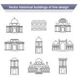 Architecture building symbols, historical building, black line icon of simple temple Stock Image
