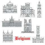 Architecture buildings of Belguim vector icons Royalty Free Stock Photography