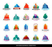 Architecture buildings geometry silhouette skyscraper construction builder developer agency logo badge real estate Royalty Free Stock Images