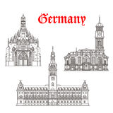 Architecture buildings of Germany vector icons Royalty Free Stock Photo