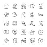Real Estate Doodle Vector Icons Set. Architecture and buildings graphics of different layouts. Estate agent, houses, home location, sold, for rent, tenant, and Stock Images