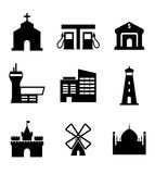 Architecture and buildings icons. Including a church, garage, bank, airport, commercial, lighthouse, castle, windmill and landmarks, vector illustration Royalty Free Stock Photo