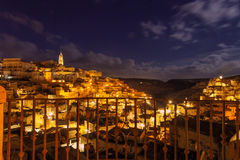 ARCHITECTURE AND BUILDINGS.Sassi di Matera: Christmas Night.ITALY (Basilicata) stock photo