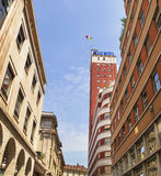 Architecture buildings in Via Giambattista , with Littoria Tower Stock Photos