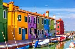 Architecture of Burano island. Venice. Italy. Multicolored houses in Burano island. Island in the lagoon of Venice. Italy Royalty Free Stock Image