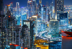 Architecture of Business bay, Dubai, United Arab Emirates. Nighttime skyline. Royalty Free Stock Photo