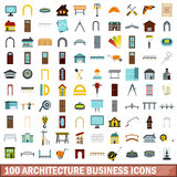 100 architecture business icons set, flat style. 100 architecture business icons set in flat style for any design vector illustration Royalty Free Stock Images