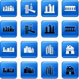 Architecture buttons. Collection of square blue rollover architecture buttons Stock Image