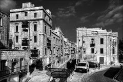 Architecture of the capital Malta. Valletta. Black and white. Brick style of the old city of Valletta Royalty Free Stock Photography