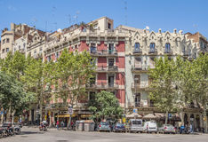 Architecture of Carrer de la Marina street in Barcelona Royalty Free Stock Images
